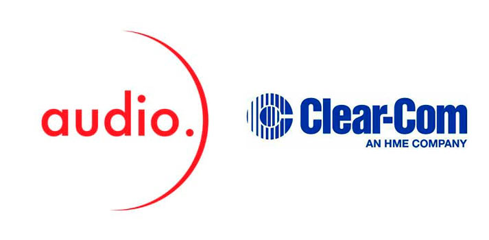 Logos of Audio evolution and Clear-Com