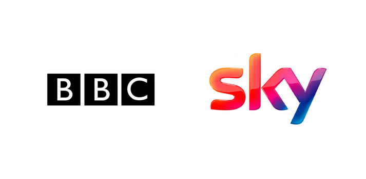 Logos of BBC and Sky