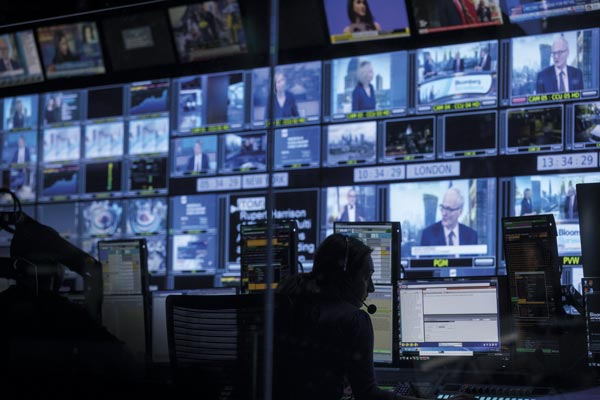 View of the screens of the control room of Bloomberg TV