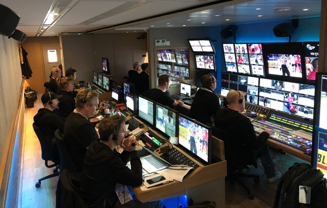 Inside view of the UHD OB truck of Broadcast Soltuions and NEP The Netherlands