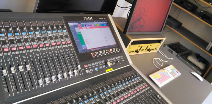 The sound console Brio developed by Calrec at Prague's FAMU TV and Film School