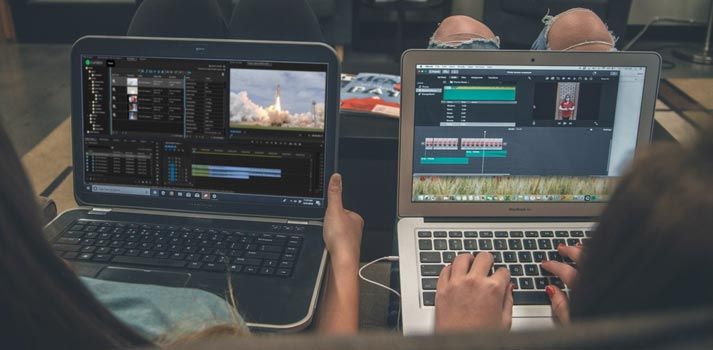 Editors and producers collaborating in cloud video production
