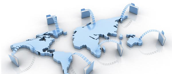 Stock image of data transfer and storage in the world