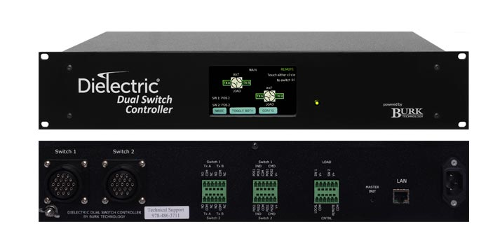 Front and back view of Dielectric Dual Switch powered by Burk Technology