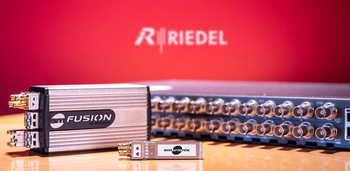Embrionix products with Riedel background