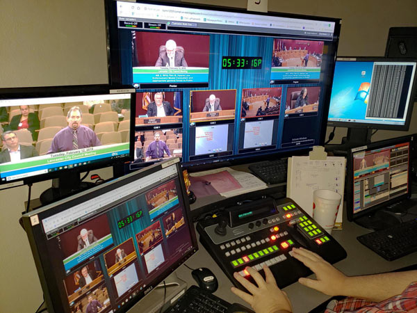 GovTV's control panel for the remote production of the City of Lancaster