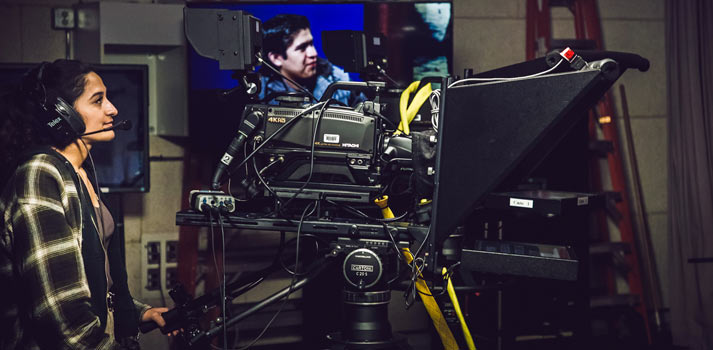 Student using Hitachi Hokusai UHD camera at Santa Ana College