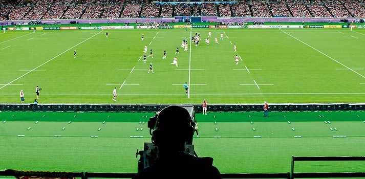 Camera at Rugby World Cup 2019 coverage in Japan