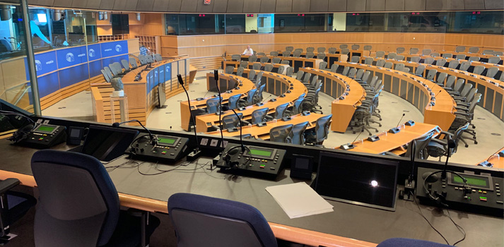 View of the European Parliament from the interpreter cabin