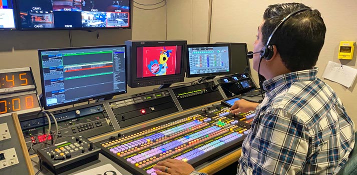 Director of production Javier Diaz deploying For-A HVS2000 production switcher