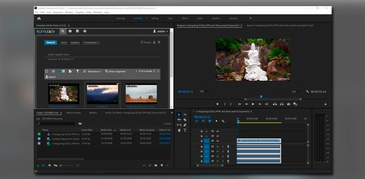 Kumulate panel integrated in Adobe Premiere Pro software