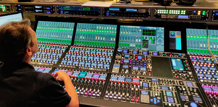 Mc2 96 audio mixing console by Lawo at Russian Channel One