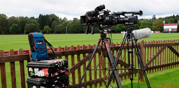 LiveU L800 streaming device next to cameras at Cartier's Queen's Cup 2020