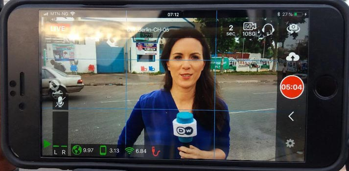 LiveU LuSmart app during a Deutsche Welle broadcast
