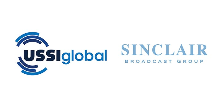 Logos of USSI Global and Sinclair Broadcast Group