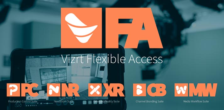 Logo of Vizrt Flexible Access and the complete product offering of the brand