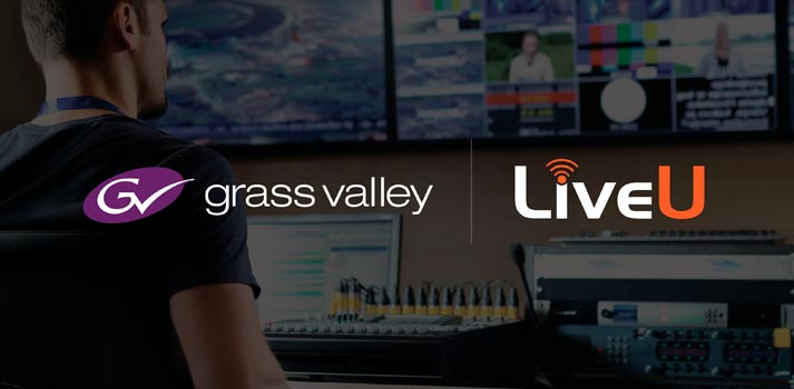 Logos of Grass Valley and LiveU