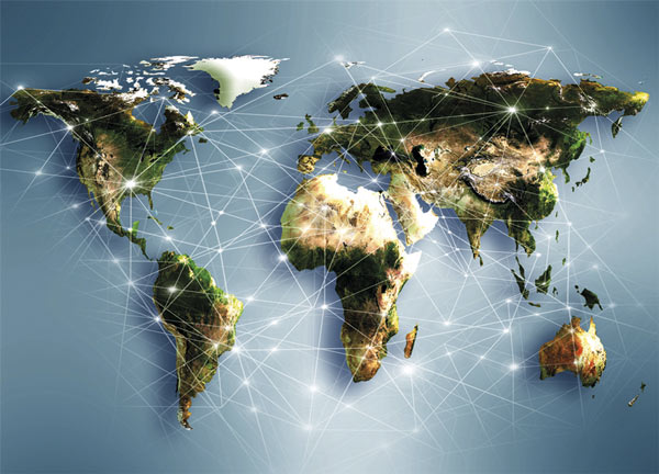 Digital map of the Earth with digital connections