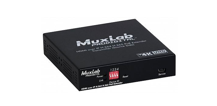 Front view of a HDMI over IP H264 H265 PoE Extender from MuxLab