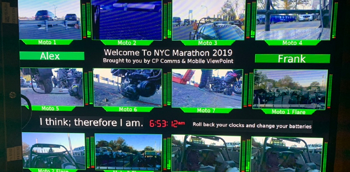 Monitoring Wall of the HD21 OB Truck deployed by CP Communications for the NYC Marathon