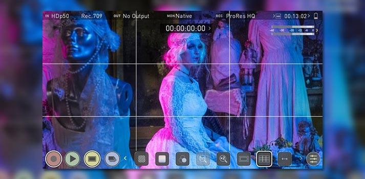 9 grid overlay in Atomos 10.3 software for Ninja V