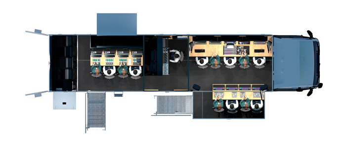 dron view of the latest OB VAN of Broadcast Solutions