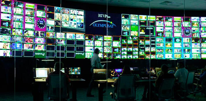 Control room of broadcast services provider Olympusat