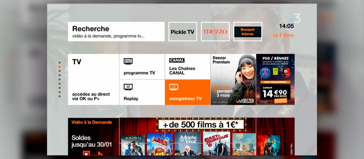 User interface of Orange France's TV platform