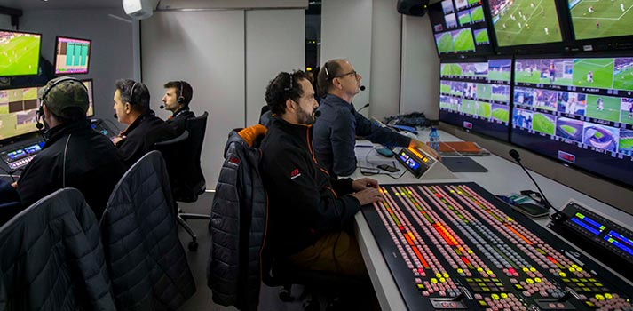 Control room at a Mediapro's soccer production