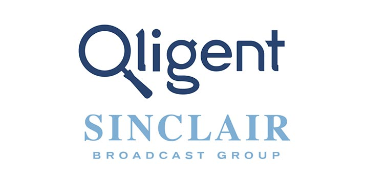 Logos of Qligent and Sinclair Broadcast Group