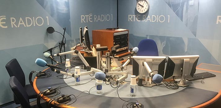 Microphones and speakers sports at RTE 1 Radio Studio