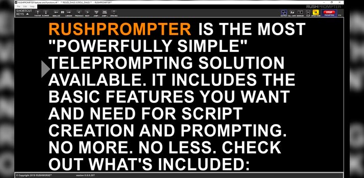 Demo of Rushprompter, Rushworks' teleprompter tool