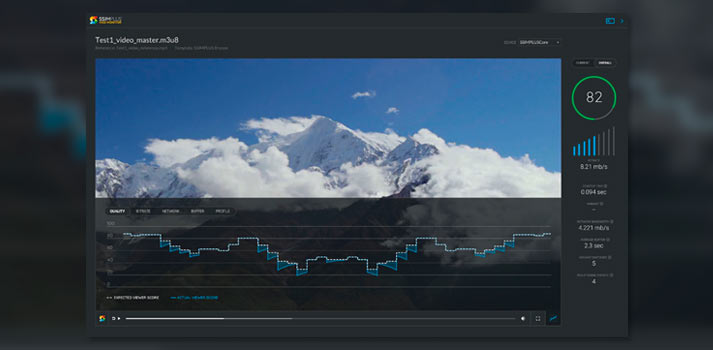 SSIMWAVE VOD test tool working on a mountain video
