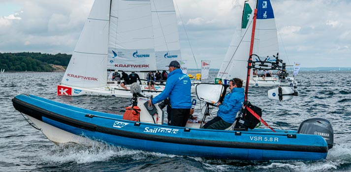 A production team of Sailtracks covering an Aviwest sailing race