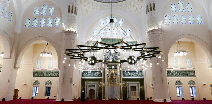 Interior of the new Sharjah Grand Mosque