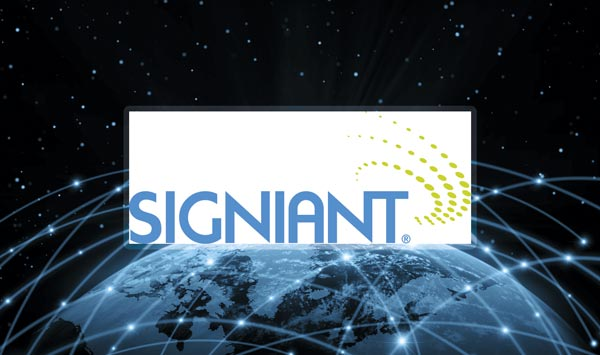 Signiant logo with a custom background