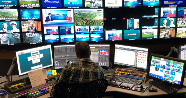 Control room of Sky Sports Racing TV channel