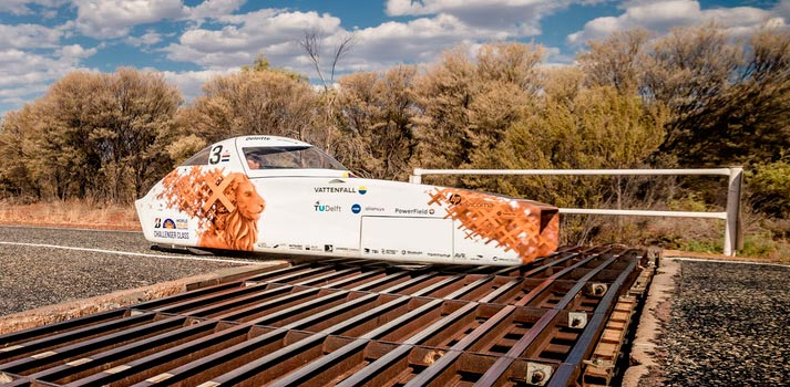 The Vattenfall Solar Team vehicle deployed at the Bridgestone World Solar Challenge