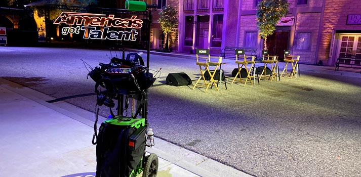 America's Got Talent Sound cart with Bubblebee equipment