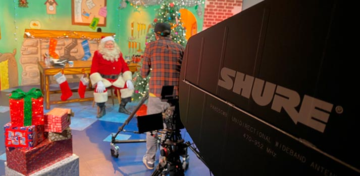 Christmas themed streamed play powered by Shure sound system solutions