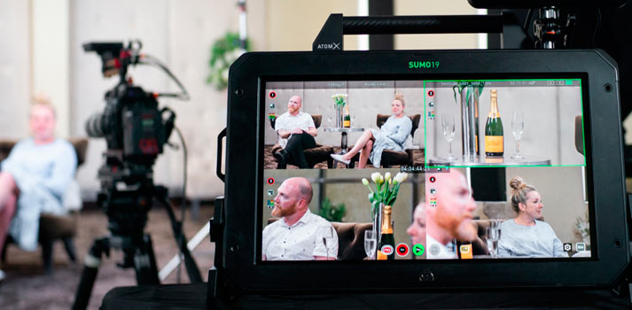 Atomos Sumo 19 monitor deployed during a shoot