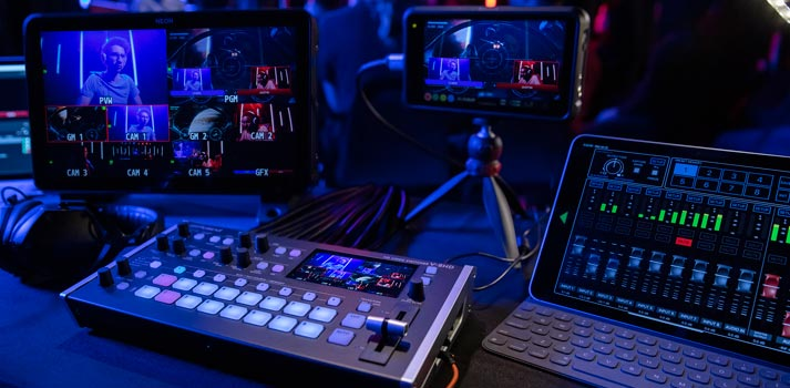Roland V 8HD HD switcher with Atomos equipment deployed at a live production