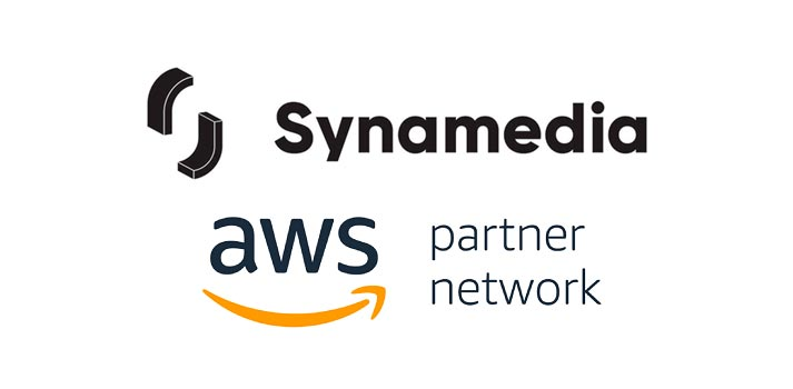 Synamedia and AWS logos