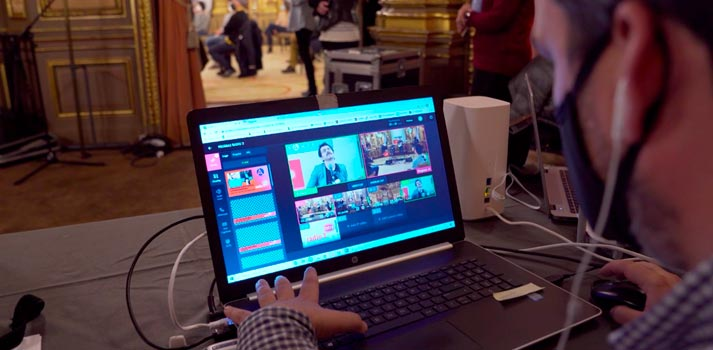 User interface of TVU Producer software, deployed for RTVE Cloud-produced event
