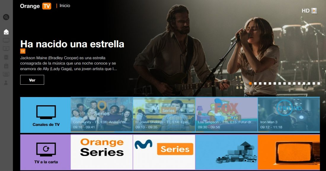 User interface of Orange TV Spain