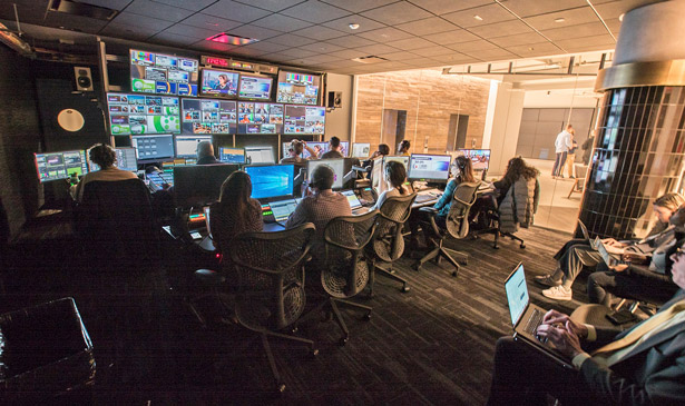 One of the control rooms of the Verizon Media facilities