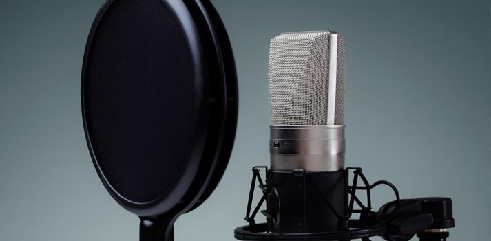Microphone in an studio stock image