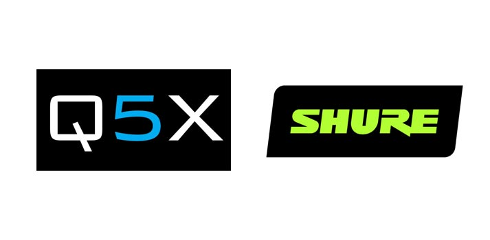 Logos of Q5X and Shure