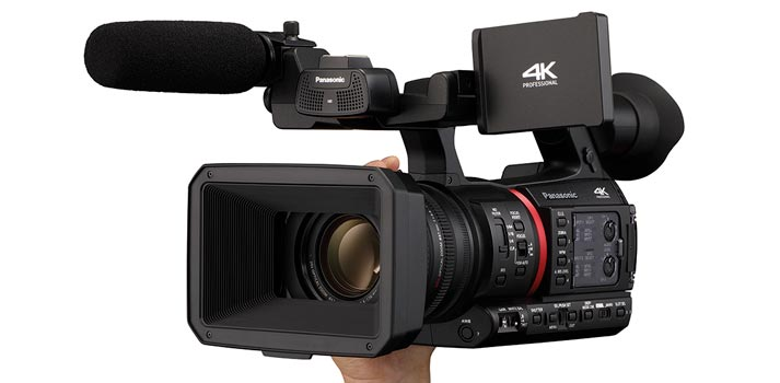 Front - side view of the Panasonic AG CX350 camcorder