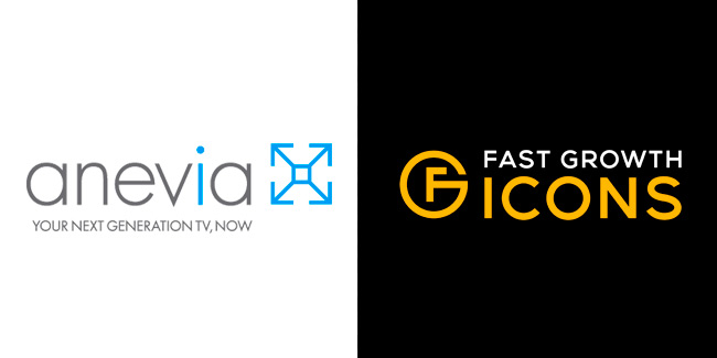 Logos of Anevia and Fast Growth Icons
